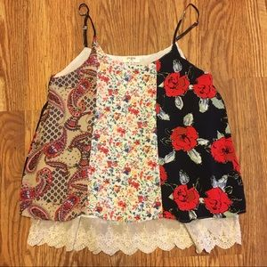 Umgee lined print strappy top medium
